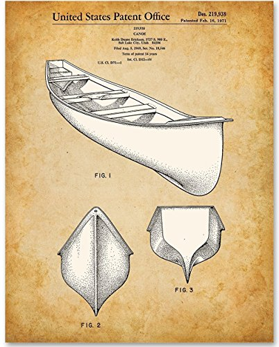 ed Patent Print - Great for Cabin/Lake Decor (Cabin Canoe)