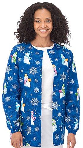 White Swan Raglan Sleeve Warm-Up Jacket - Build a Snowman, (Christmas Scrub Jacket)