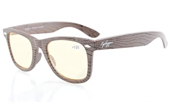 7574786133 Eyekepper Readers Brown Stripe Bamboo Wood Design Classic Computer Glasses  Computer Reading Glasses +1.25
