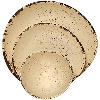 Melange 12-Piece 100% Melamine Dinnerware Set (Rustic Egg Collection ) | Shatter-Proof and Chip-Resistant Melamine Plates and Bowls | Color Off-White ...  sc 1 st  Amazon.com & Amazon.com | 12-Pc. Rustic Melamine Dinnerware Set: Dinnerware Sets