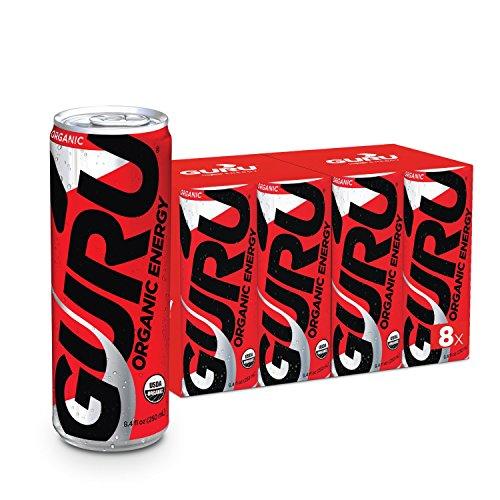 GURU Original Organic Energy Drink, Vegan, Non-GMO, Natural, 8.4oz can (8 Count) by Guru
