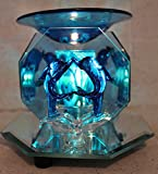 Electric Oil Warmer Tart Burner 2 Kissing Dolphins, 3 Sided Mirror, Dark Blue