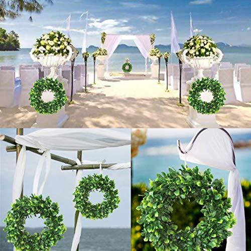 Maikouhai Artificial Jasmine Wreath, Garland of Household Items Simulates Jasmine Wedding Festival Celebrations Home Office Wall Decor - Flocking & PVC, 42x42x6cm