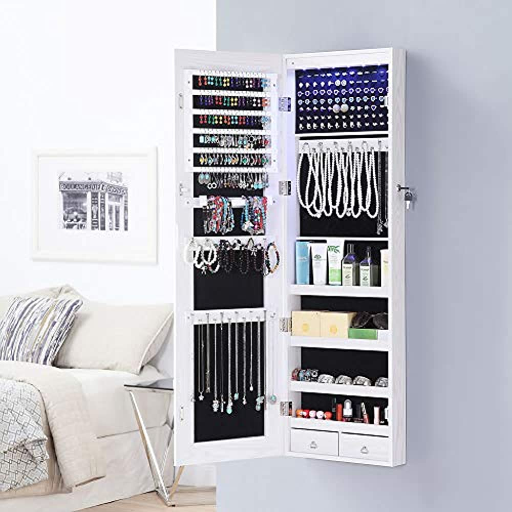 Full Length Mirror Jewelry Cabinet, 6 LEDs Armoire Wall ...
