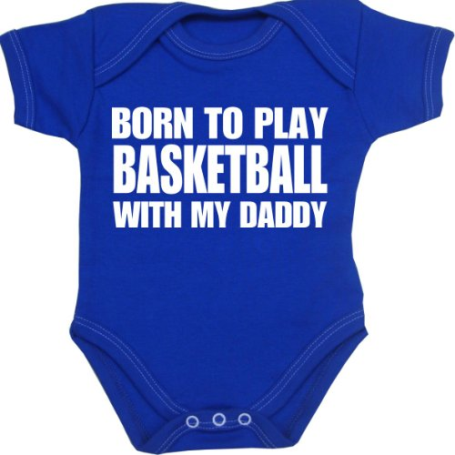 BabyPrem Baby Born to play Basketball with my Daddy Bodysuit NB-12 mth ROYAL 3-6