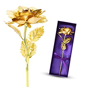 "ZJchao 24k Gold Foil 11"" Rose Flower Best Gift for Your Lover Wife or Mother's Day Gift for Her 17"
