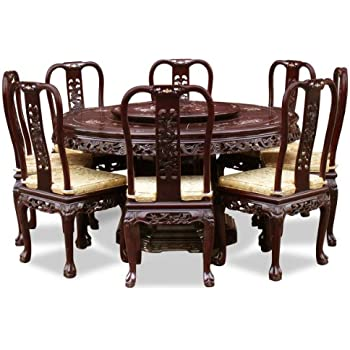 Ordinaire China Furniture Online Rosewood Dining Table, 60 Inches Queen Ann Mother  Pearl Inlay Round Dining Set With 8 Chairs Dark Cherry Finish