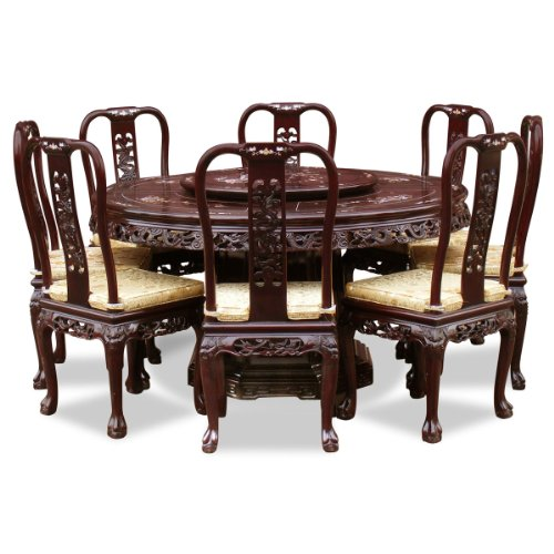 ChinaFurnitureOnline Rosewood Dining Table, 60 Inches Queen Ann Mother Pearl Inlay Round Dining Set with 8 Chairs Dark Cherry Finish