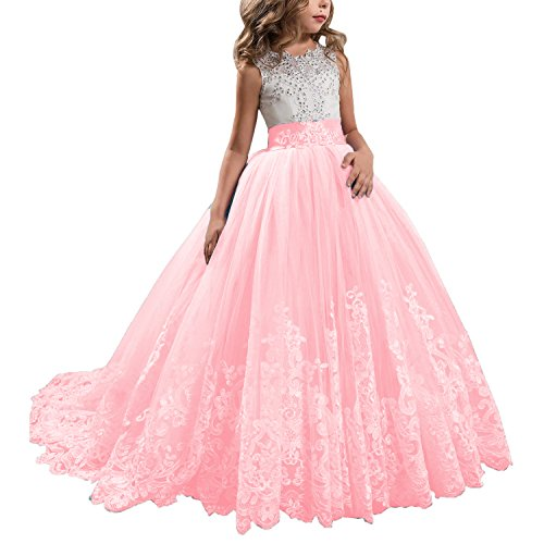 KSDN Wedding Flower Girls Dresses Princess Gowns First Communion Pageant Gowns(US 6 Light Pink) ()
