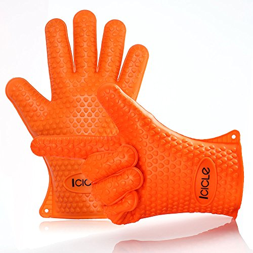 Icicle Extra-Thick Heat Resistant Silicone BBQ Grill Oven Glove Set for Baking, Smoking, Frying, Boiling, Cooking....