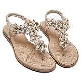 Memorygou Women Flat Sandals Bohemian Style Rhinestone Flower Beaded Strap Gladiator T-Strap Thong Shoes Flip Flops Beige US 4.5