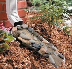 Faux stone pebble decorative garden down spout gutter water rain splashing block - Decorative water spouts ...