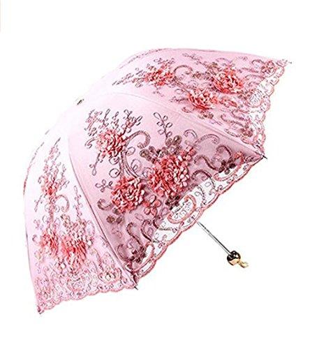 Jiuhexu Vintage Lace UV Sun Parasol Folding 3D Flower Embroidery Umbrella (Pink)