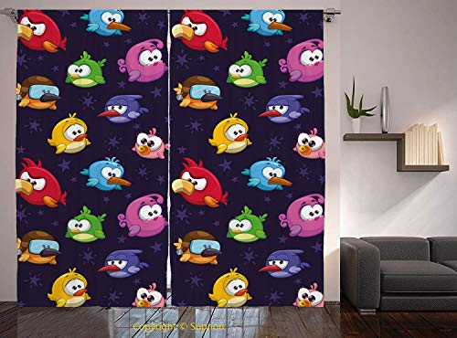 Living Room Bedroom Window Drapes/Rod Pocket Curtain Panel Satin Curtains/2 Curtain Panels/84 x 84 Inch/Funny,Angry Flying Birds Figure with Various Expressions Game Toy Kids Babyish Artsy -