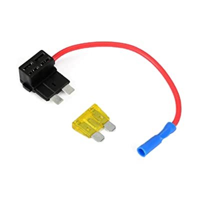 Pixnor 12V ATO ATC Add A Circuit Fuse Tap Piggy Back Standard Blade Fuse Holder with 20A Blade Fuse - Size M: Home Improvement