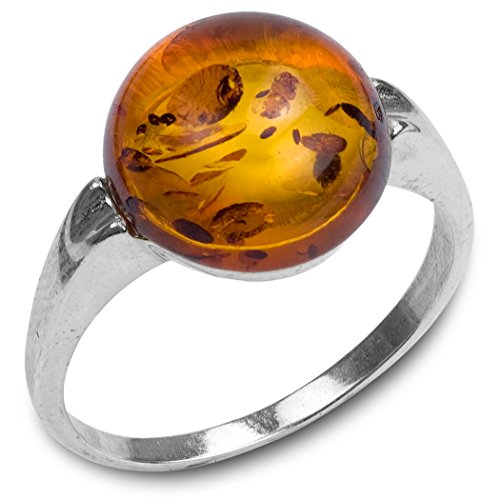 Amber Stone Jewelry - Amber Sterling Silver Round Ring
