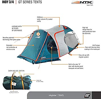 NTK INDY GT 3 to 4 Person 12 by 7 Foot Outdoor Dome Family Camping Tent 100 Waterproof 2500mm, European Design, Easy Assembly, Durable Fabric Full Coverage Rain fly – Micro Mosquito Mesh.