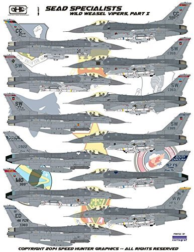 WATERSLIDE Decal Sheet Part I Wild Weasel Vipers Speed Hunter Graphics RAPSH48007 1:48 F-16C Blcok 50//52 Falcon SEAD Specialists