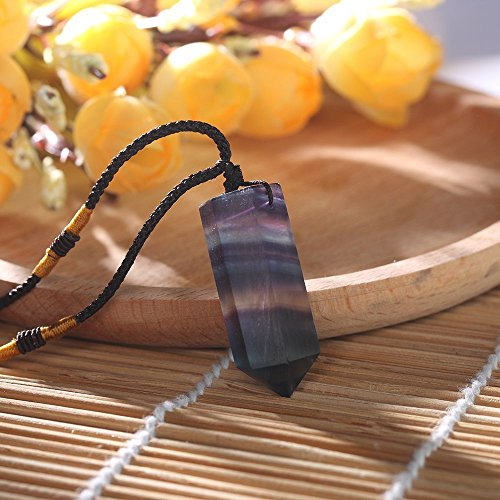 Wand Pendant Crystal (Nadeejewelry Napafashion Healing Stone Reiki Crystal Pendant Necklace Natural Fluorite Wand Quartz)