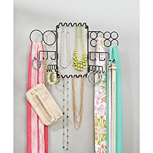 InterDesign Classico Hanging Fashion Jewelry and Accessories Organizer for Rings, Earrings, Bracelets, Necklaces, Scarves, Belts - Wall Mount, Bronze