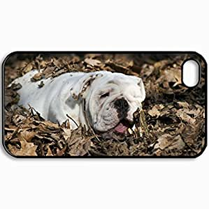 Customized Cellphone Case Back Cover For iPhone 4 4S, Protective Hardshell Case Personalized Dog English Bulldog Leaves Dog Black