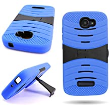 CoverON® for Alcatel One Touch Fierce 2 / Pop Icon Case - [Titan Armor Series] Hybrid Hard and Soft Shockproof Dual Layer Protective Phone Cover with Kickstand - ( Blue / Black )