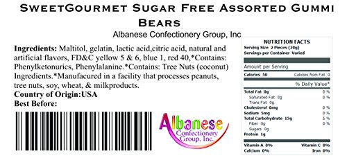 Amazon.com : SweetGourmet Albanese Assorted Sugar Free Gummi Bears, 10Lb (Pack of 2 X 5Lb) : Grocery & Gourmet Food