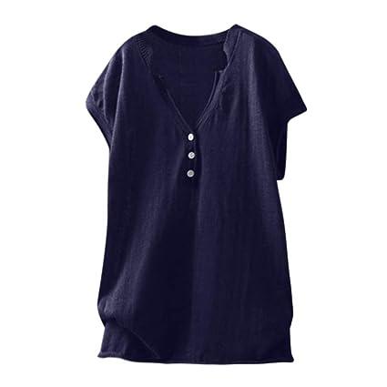 Wave166 Moda para Mujer Camiseta Casual Cuello en V Talla