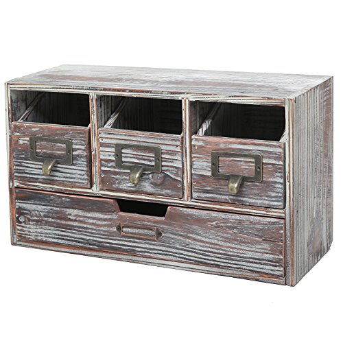 Rustic Brown Torched Wood Finish Desktop Office Organizer Drawers / Craft Supplies Storage Cabinet