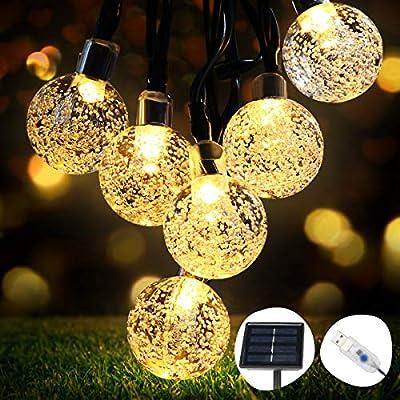 Guirnaldas Luces Exterior Solar, OMERIL Luces Navidad Guirnalda Solar de USB Recargable con 50 LED Bola de Cristal, Cadena de Luces LED para Decoración, Exterior, Jardín, Árbol, Patio, Boda, Fiesta: Amazon.es: Iluminación