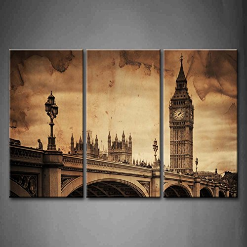 First Wall Art - 3 Panel Wall Art Brown Aged Vintage Retro Picture Of Big Ben In London Bridge Painting The Picture Print On Canvas Architecture Pictures For Home Decor - Vintage Frames London