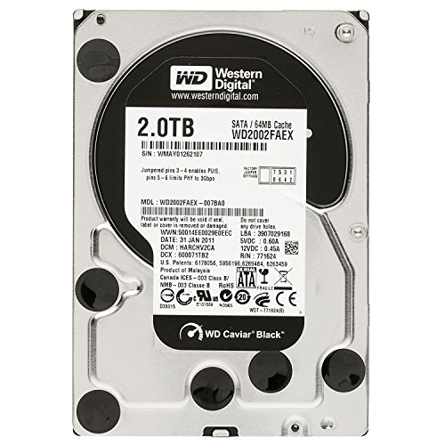 Western Digital Caviar Black 2 TB SATA III 7200 RPM 64 MB Cache Bulk/OEM Internal Desktop Hard Drive - WD2002FAEX (Renewed) ()