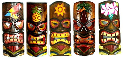 (SET OF 5 HAND CARVED POLYNESIAN HAWAIIAN TIKI STYLE MASKS 12 IN TALL turtle pineapple colorful flower)