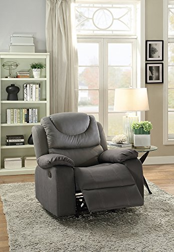 Leatherette Rocker Recliner In Gray by Poundex