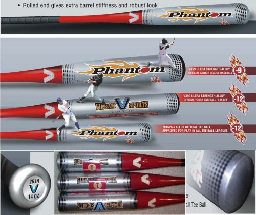 Vikram Sports 2018 Phantom Tee Ball Bat 26 Inch 14 oz (-12) made from 7046 Plus Aerospace Alloy by at Factory Direct Price//Tee Ball Sticker will be mailed to you separately by Vikram Sports