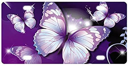 chaqlin Blue Butterfly License Plate Accessories Men Women Decorative USA Auto Car Front Metal Vanity Tag 12x6