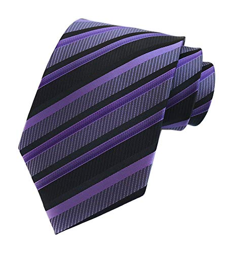 Men's Purple Black Neckties Silk For Men Suit Fitness Dating Fashion Prom Ties