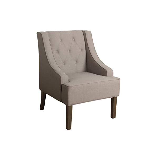 HomePop Kate Tufted Swoop Arm Accent Chair, Tan