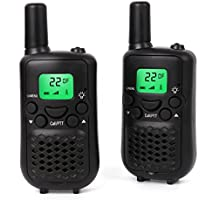 Walkie Talkies, Wireless Interphone 22 Channel FRS/GMRS 2 Way Radio 2 miles (up to 3 Miles) UHF Handheld Walkie Talkies for Kids,Business Outdoor Use (1 pair) (Black)