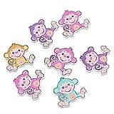 Souarts Mixed Random Colorful Monkey Shape 2 Holes Wooden Buttton Pack of 30pcs
