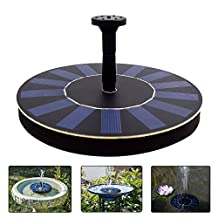 COSSCCI Submersible Solar Powered Water Fountain Pump Kits with Solar Panel Free Standing for Bird Bath, Small Pond, Fish Tank and Patio Garden Decoration (1.4W & Round Shape)