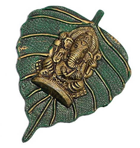 Decorative Indian Lord Shri Ganesha on Green Peepal Leaf Metal Figurine Copper Material Handcrafted Green Showpiece Wall Hanging Lucky Gift Items