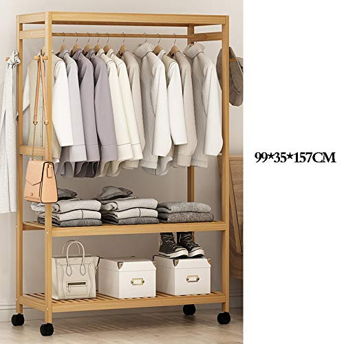 Amazon.com: Jiu Si- Wooden Coat Rack,Bamboo Coat Stand Solid ...