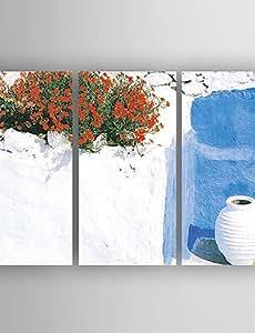SYF--paisaje de la pintura al ¨®leo de la lona pintados a mano con 3 estiradas enmarcado listo para colgar