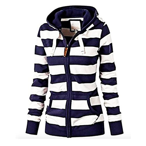 Neal LINK Women's Casual Stripe Lightweight Sweatshirts Long Sleeve Zipper Striped Hoodies (Lable Size 2XL=US Size l, Blue-White)