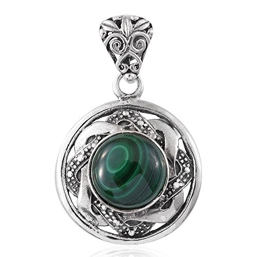 925 Sterling Silver Artisan Crafted Round Malachite Pendant Necklace for Women Jewelry Gift