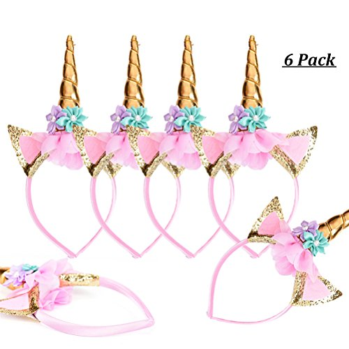 MIIRROR 6 Pack Unicorn Headbands Party Supplies | Gold Unicorn Horn Headband, Prom Party Favour Dress up Consume, 5 x 5 x -