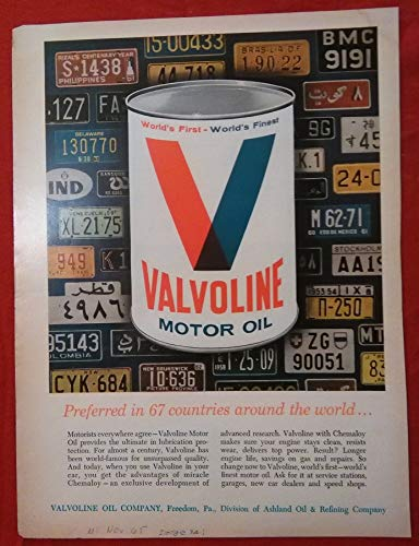 "1965 VALVOLINE MOTOR OIL""Preferred in 67 Countries."" LICENSE PLATES OF THE WORLD COLOR AD - USA - NICE ORIGINAL !! (BCK)"