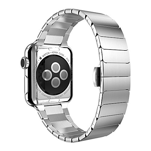 Apple Watch Band, Clebsch Stainless Steel Replacement Smart Watch Band Wrist Strap Bracelet with Butterfly Buckle Clasp for Apple Watch All Models by Clebsch