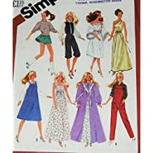 "Simplicity 5637 Sewing Pattern, Wardrobe for 11 1/2"" Fashion Doll, such as Barbie, 1980s Fashion"